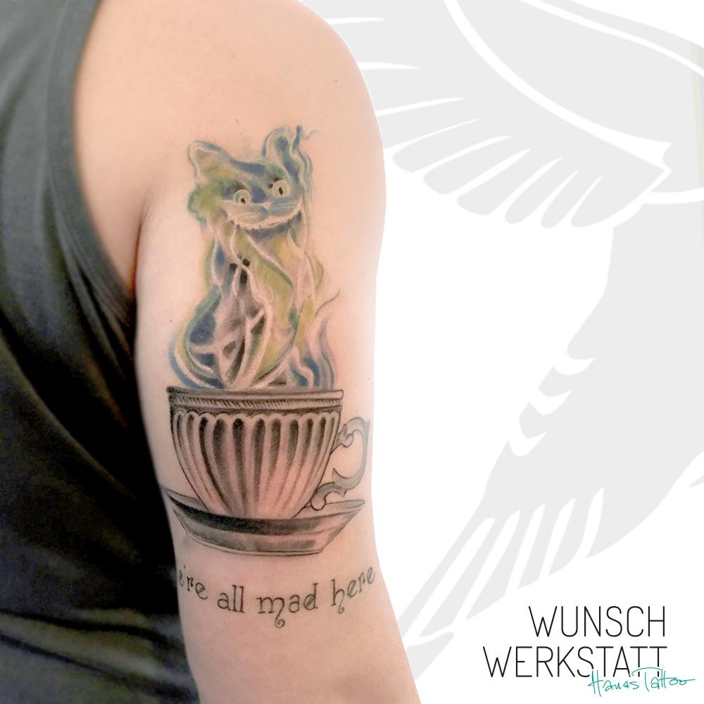Tattoo Grinsekatze Alice im Wunderland