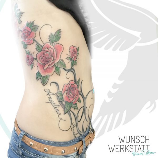 Tattoo Tribal Rosen Rippenbogen