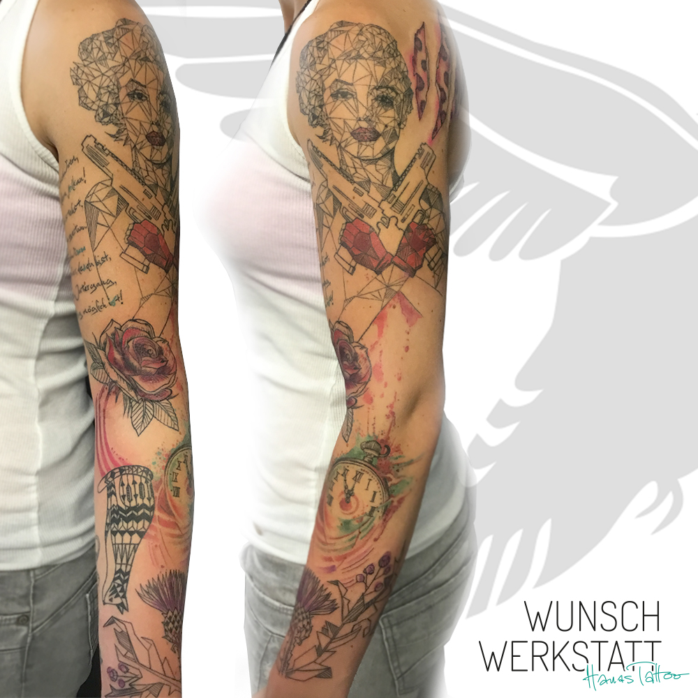 Tattoo Marilyn Monroe ganzer Arm Frau