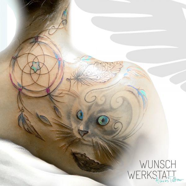 Tattoo Traumfänger Katze Schulterblatt Rücken