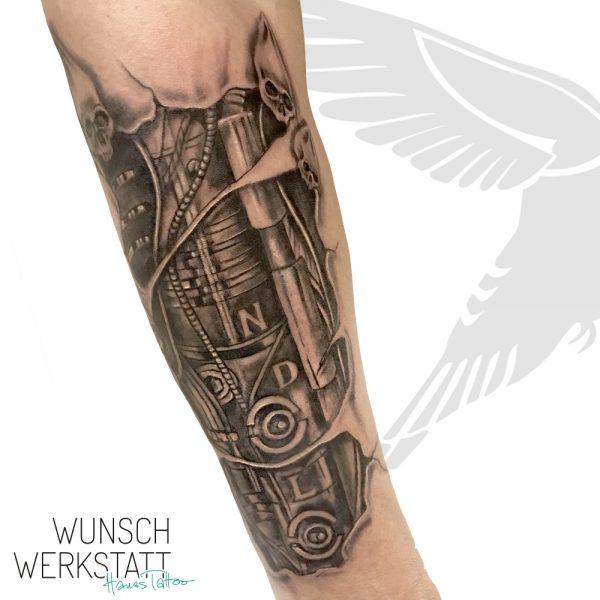 Tattoo Unterarm Mechanik Innenleben