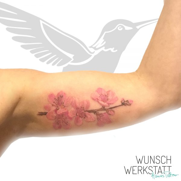 Tattoo Wunschwerkstatt Kirschblüten Oberarm