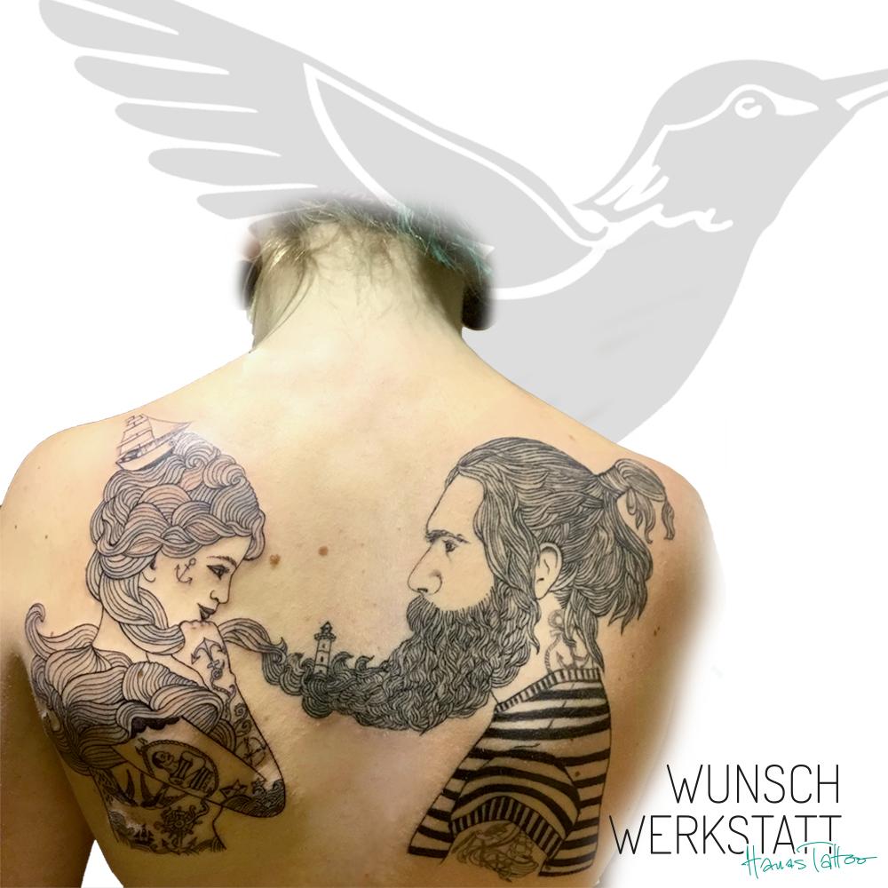 Seemann mit Bart und Seefrau Tattoo