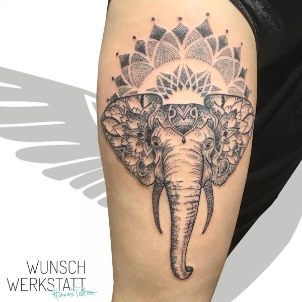 Wunschwerkstatt Hana Tattoo Mandalastil Elefantenkopf