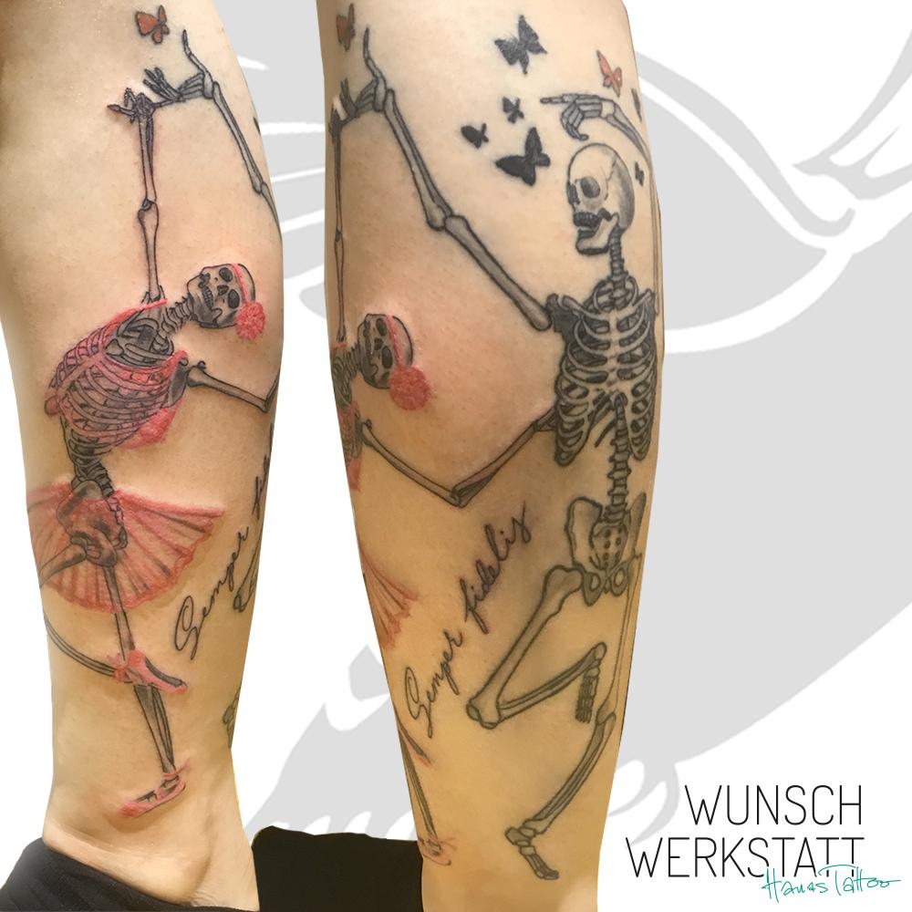 Hana Tattoo Wunschwerkstatt tanzende Skelette