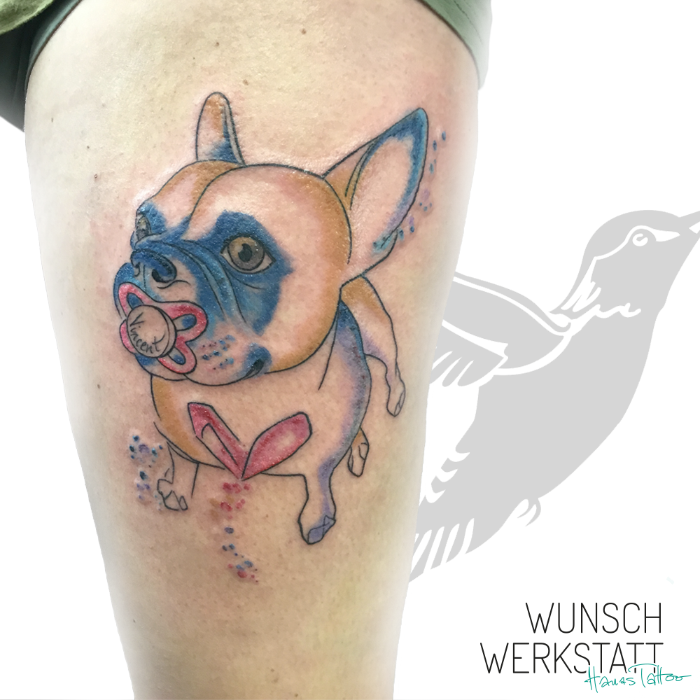 Hanas Tattoo Wunschwerkstatt Schnuller Mops Aquarell