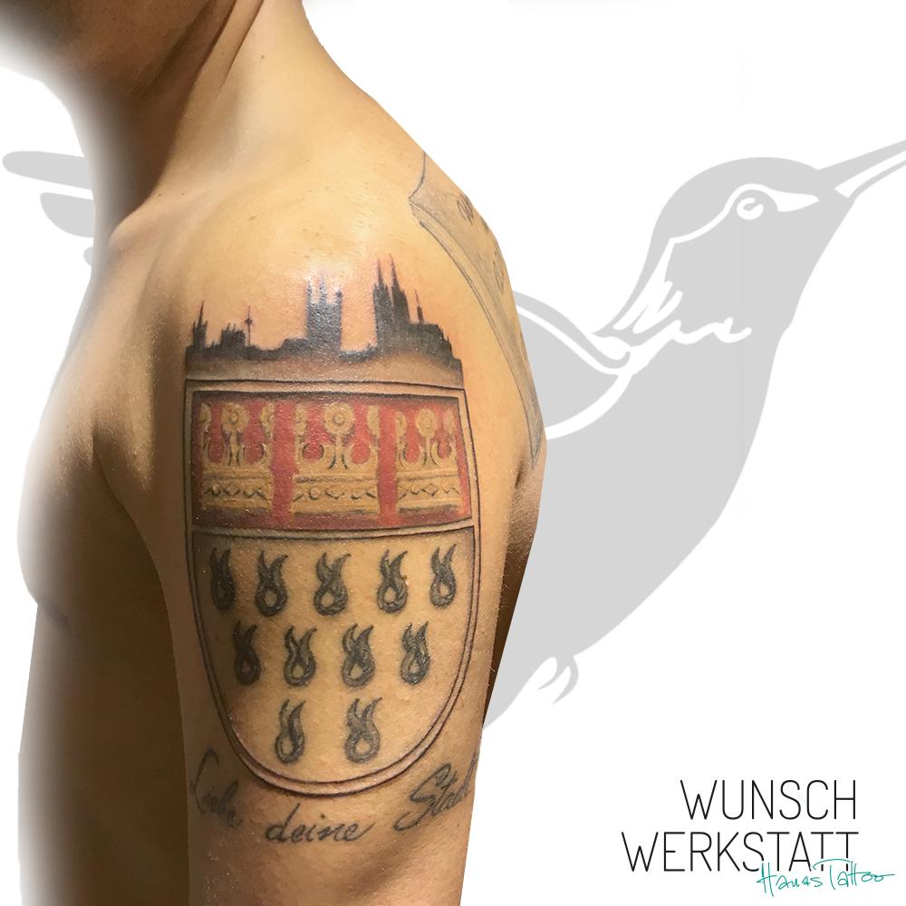 Tattoo Oberarm Köln Wappen Stadtliebe