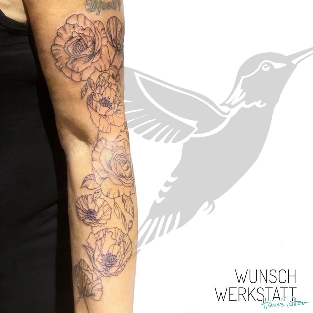 Hanas Wunschwerkstatt Tattoo Mohnblumen minimalistisch