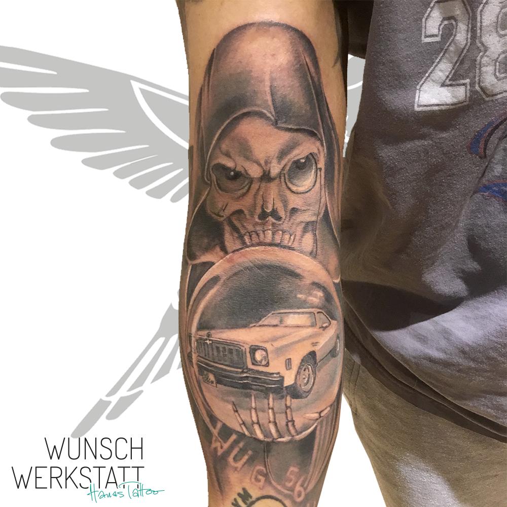 Tattoo Tod mit Glaskugel und Auto (Hanas Wunschwerkstatt)