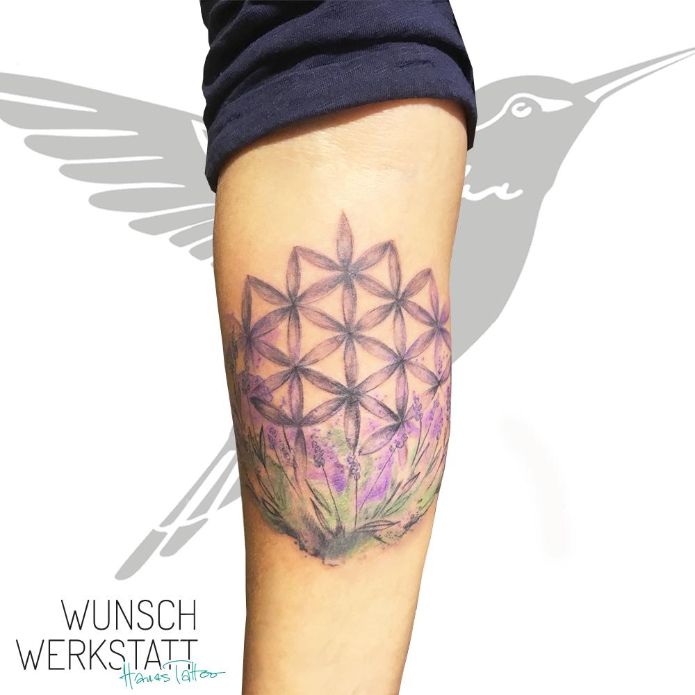 Unterarm Tattoo Lebensblume Aquarell Hanas Wunschwerkstatt