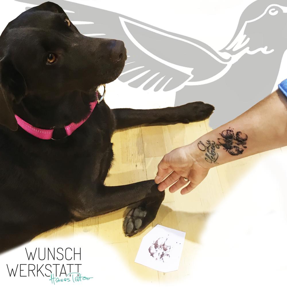 Tattoo Wunschwerkstatt Hundepfote auf Arm