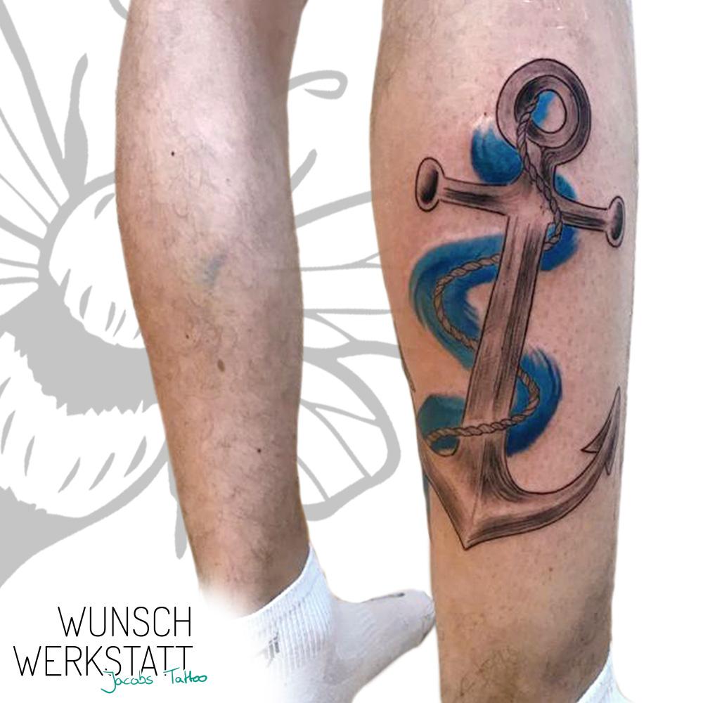 Anker mit Wasser - Jacobs Tattoo Wunschwerkstatt
