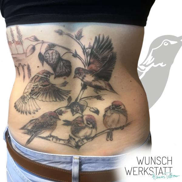 Hanas Tattoo Cover Rücken - Vögel statt Sterne