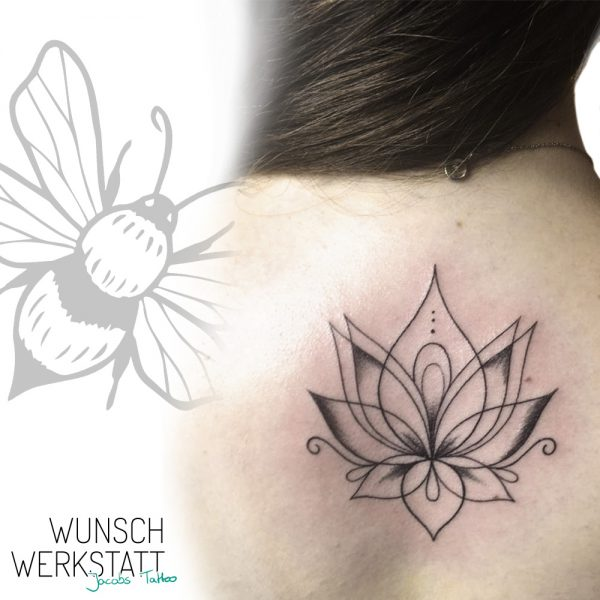 Wunschwerkstatt Jacobs Tattoo einfache Linien als Lotusblüte