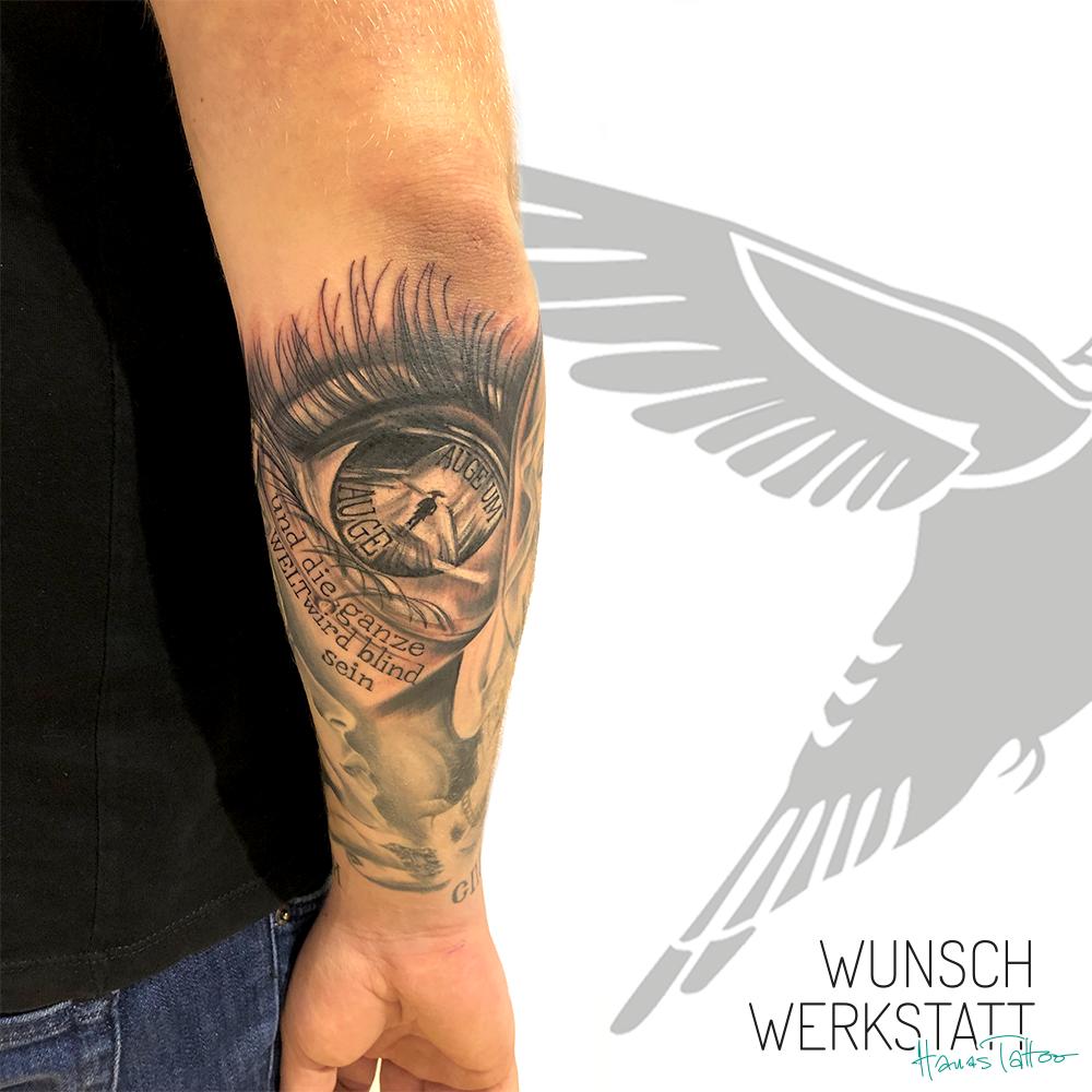 Tattoo aus Hanas Wunschwerkstatt Auge um Auge auf Unterarm