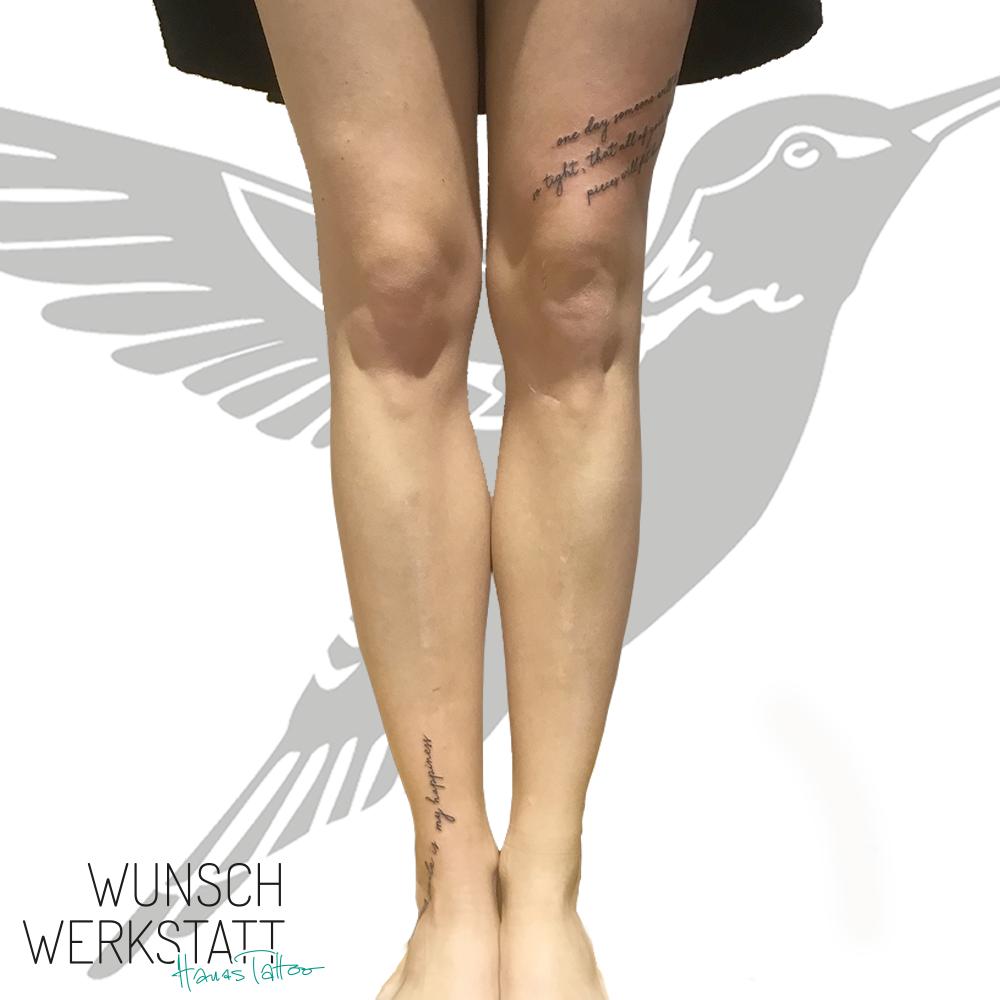 Hanas Wunschwerksattt Schriftzug Tattoo Oberschenkel Knöchel