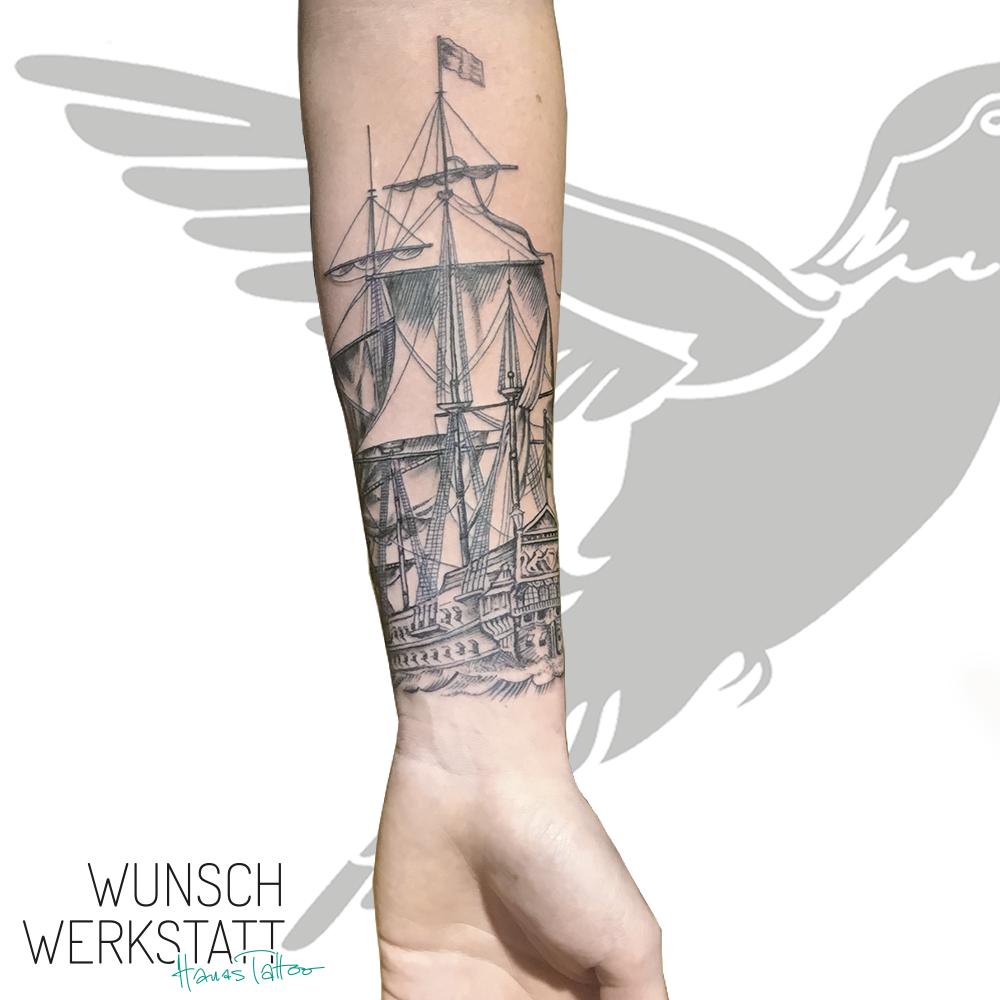 Hanas Wunschwerkstatt Tattoo Unterarm Schiff Seefahrt