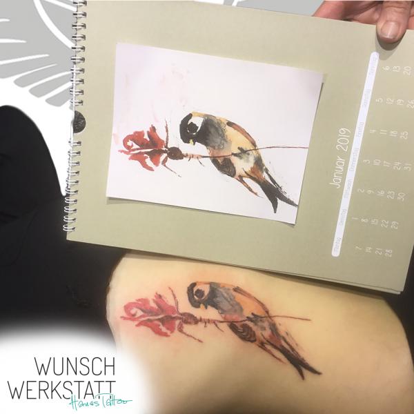 Hanas Wunschwerkstatt Tattoo Aquarell Vogel